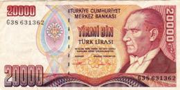 "TURKEY 20000 LIRA 1970 (1995) F P-202 ""free Shipping Via Regular Air Mail (buyer Risk) - Turkije"