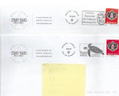 Monaco  Lettres  Oblitérées  Avec Flammes  (  2 Différentes ) - Mónaco