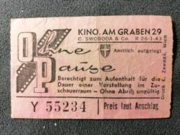 Old Small Ticket KINO OP OHNE PAUSE KINO AM GRABEN Wien Austria 1950's / 60's Kino - Tickets - Entradas