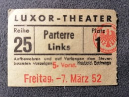 Old Small Ticket KINO LUXOR - THEATER Austria Or Germany 1950's / 60's Kino - Tickets - Entradas