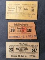 Old LOT OF 3 Small Cinema Ticket FILM PALAST + ZEIL-FILMTHEATER + HANSA-LICHTSPIELE Germany Frankfurt 1950's / 60's Kino - Tickets - Entradas