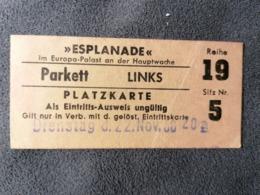 Old Small Cinema Ticket ESPLANADE Im Europa Palast An Der Hauptwache Germany Frankfurt Am Main 1950's / 60's Kino - Tickets - Entradas