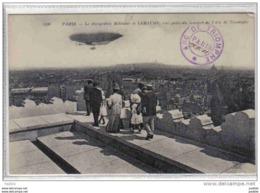 """Carte Postale Aviation Paris  Ballon Dirigeable Militaire Le """"Lebaudy"""" Vue De L'Arc De Triomphe Trés Beau Plan - Flugwesen"""
