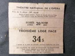 Old Ticket 1950's / 60's THEATRE NATIONAL DE L'OPERA France Troisieme Loge Face - Tickets - Entradas