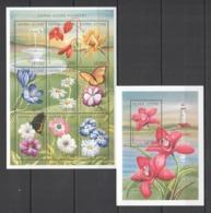 S458 SIERRA LEONE FLOWERS BUTTERFLIES FLORA & FAUNA 1KB+1BL MNH - Vegetales