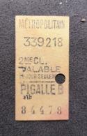 Old Ticket 1950's / 60's METROPOLITAIN - Tickets - Entradas