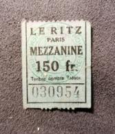 Old Ticket 1950's / 60's LE RITZ Paris Mezzanine - Tickets - Entradas