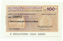 1977 - Italia - Banca Popolare Di Milano - Unione Artigiani Della Provincia Di Milano - [10] Assegni E Miniassegni