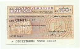 1976 - Italia - Banca Popolare Di Milano - Unione Artigiani Della Provincia Di Milano - [10] Assegni E Miniassegni