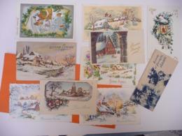 Lot Mignonnettes Cartes Années 1950 - 1960 ( Paillettes - New Year