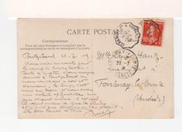 Sur CPA De Pontgibaud Pour Fontenay Le Comte Cachet Ambulant Clermont Ferrand à Ussel 1909. CAD Fontenay. (3391) - Posta Ferroviaria