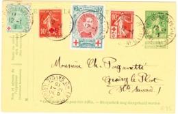 1915 Ganzsachenkarte Mit Zusatz Zweiländer Frankatur Rotkreuz; Stempel: Le Plotgroisy - 1914-1915 Red Cross