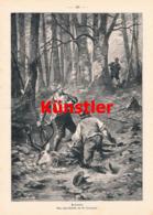 1514 M. Corregio Ertappt Wilderer Hirsch Jagd Jäger Druck 1897 !! - Stampe