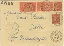 BANDE  5x50C SEMEUSE + 1 LETTRE AVION TCHECOSLOVAQUIE 15/10/30. CACHET ARRIVEE - Marcophilie (Lettres)