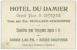 OSTENDE : Hôtel Du Damier - Visitekaartjes