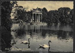 ROMA - VILLA BORGHESE - IL LAGHETTO - VIAGGIATA 1952 FRANCOBOLLO ASPORTATO - Parks & Gardens