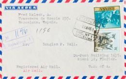 España. 2º Centenario Correo Aéreo. CERTIFICADO / BARCELONA. MAGNIFICA. - Aéreo