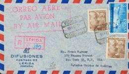 España. 2º Centenario Anterior A 1960. Sobre 1059(2), 1191. 1956. 10 Pts Castaño, Dos Sellos Y 3 Pts Azul. Certificado D - 1951-60 Storia Postale