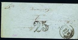 France Entier 23-7-1853 Champlitte To Landrecies, Early Ambulant Cancel Lignes De Lyon And Queverain Expertised Klickow - Marcofilie (Brieven)