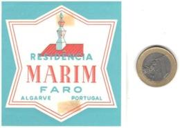 ETIQUETA DE HOTEL  - RESIDENCIA MARIM  -ALGARVE -FARO  -PORTUGAL  (CON CHANELA) - Otros