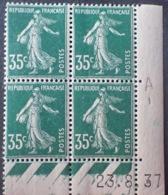 R1189/288 - 1937 - TYPE SEMEUSE - BLOC - N°361 TIMBRES NEUFS** CdF Daté - Coins Datés