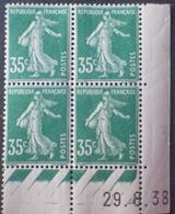 R1189/289 - 1938 - TYPE SEMEUSE - BLOC - N°361 TIMBRES NEUFS** CdF Daté - Coins Datés