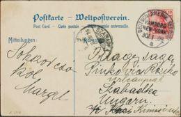 Alemania. Sobre Yv 69. 1908. 10 P Rojo. Tarjeta Postal Dirigida A SZABADKA (HUNGRIA). Matasello DEUTSCHAMERIK-SEE POST / - [1] ...-1849 Precursores