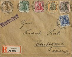 Alemania. Sobre Yv 82/86, 89. 1912. 2 P, 5 P, 10 P, 20 P, 25 P Y 50 P. Correo Interior Certificado De STUTTGART. MAGNIFI - [1] ...-1849 Precursores