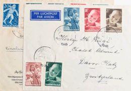 Holanda. Sobre Yv 483/87, 499/03. (1947ca). Dos Cartas Circuladas Con Series Completas. MAGNIFICAS. - Holanda