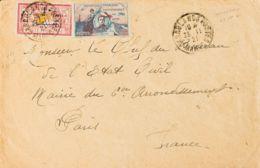 Marruecos Francés. Sobre Yv 51. 1921. 1 Pts Sobre 1 Fr Carmín Y Viñeta Precursora GUYNEMER. CASABLANCA A PARIS (FRANCIA) - Morocco (1956-...)