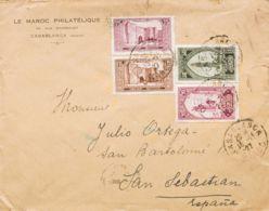 Marruecos Francés. Sobre Yv 105, 113, 115, 117. 1927. 20 Cts Lila, 50 Cts Verde Negro, 75 Cts Lila Castaño Y 1'05 F Cast - Morocco (1956-...)