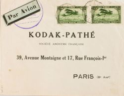 Marruecos Francés, Aéreo. Sobre Yv 5(2). 1933. 75 Cts Verde, Dos Sellos. AGADIR A PARIS (FRANCIA). Al Dorso Llegada. MAG - Morocco (1956-...)