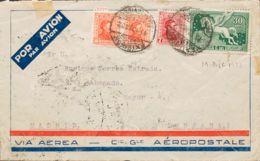 Uruguay. Sobre Yv 425, 427(2), Aéreo 46. 1932. 7 Cts Rojo, 10 Cts Naranja, Dos Sellos Y Sello Aéreo De 30 Cts Verde. Cor - Uruguay