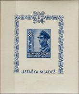 Croacia, Hoja Bloque. MNH **Yv 6. 1943. Hoja Bloque. SIN DENTAR. MAGNIFICA. Yvert 2014: +40 Euros. - Croacia