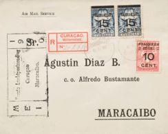 Curacao. Sobre Yv 79, 81(2). 1930. 10 Cts Sobre 60 Cts Y 15 Cts Sobre 1'50 Gulden, Dos Sellos. Certificado De WILLEMSTAD - Curazao, Antillas Holandesas, Aruba