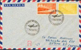 España. 2º Centenario Correo Aéreo. 1º VUELO MADRID-MEJICO POR IBERIA / MADRID, Al Dorso Llegada. MAGNIFICA. - Aéreo