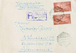 España. 2º Centenario Correo Aéreo. CORREO AEREO CERTIFICADO / SEVILLA, Al Dorso Llegada. MAGNIFICA. - Aéreo