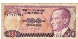"""TURKEY 100 LIRA 1970 (1984) F P-194a """"free Shipping Via Regular Air Mail (buyer Risk) - Turkije"""