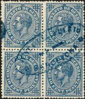 España. Cataluña. Filatelia. º184(4). 1876. 10 Céntimos Azul, Bloque De Cuatro. Matasello Oval JUNTA DEL PUERTO / DE / B - Spain