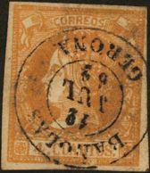 España. Cataluña. Filatelia. º52. 1860. 4 Cuartos Amarillo. Matasello BAÑOLAS / GERONA. MAGNIFICO. - Spain