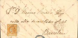 España. Cataluña. Historia Postal. Sobre 52. 1862. 4 Cuartos Amarillo. YGUALADA A BARCELONA. Matasello YGUALADA / BARCEL - Spain