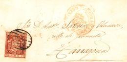 España. Cataluña. Historia Postal. Sobre 24. 1854. 6 Cuartos Rosa. MORA DE EBRO A TARRAGONA. MAGNIFICA. - Spain