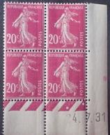 R1189/293 - 1931 - TYPE SEMEUSE - BLOC - N°190 (III) TIMBRES NEUFS** CdF Daté - Coins Datés