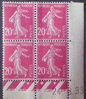 R1189/295 - 1933 - TYPE SEMEUSE - BLOC - N°190 (III) TIMBRES NEUFS** CdF Daté - Coins Datés