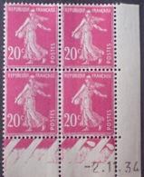 R1189/296 - 1934 - TYPE SEMEUSE - BLOC - N°190 (III) TIMBRES NEUFS** CdF Daté - Coins Datés