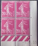 R1189/297 - 1935 - TYPE SEMEUSE - BLOC - N°190 (III) TIMBRES NEUFS** CdF Daté - Coins Datés