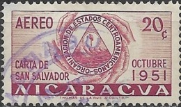 NICARAGUA 1953 Foundation Of Organisation Of Central American States -  20c. Hands Holding ODECA Arms FU - Nicaragua