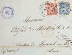 Alemania. Sobre Yv 32, 33. 1875. 10 P Rosa Y 20 P Azul. MULHOUSE A MAREUIL SUR AY (FRANCIA). En El Frente Fechador MANSB - [1] ...-1849 Precursores