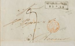 Alemania. Sobre Yv . 1853. MULHEIM A REIMS (FRANCIA). Marca MÜLHEIMAD.RUHR / 95*5-6, Fechador De Entrada PRUSSE / VALENC - [1] ...-1849 Precursores