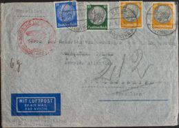 Alemania. Sobre Yv 453, 458, 461(2). 1938. 25 P Ultramar, 50 P Verde Y 100 P Amarillo Y Negro, Dos Sellos. Correo Aéreo - [1] ...-1849 Precursores